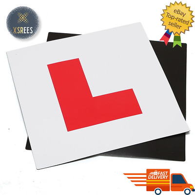 2 X FULLY MAGNETIC L PLATES SECURE EASY TO FIX LEARNER SIGN • 2.37£