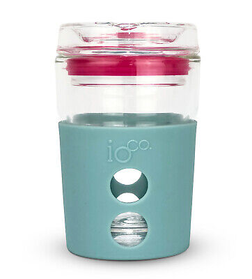 AU31.95 • Buy IOco 4oz Piccolo ALL GLASS Coffee Traveller - Ocean | Hot Pink Seal