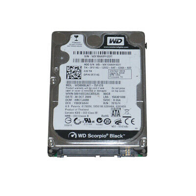 AU9.99 • Buy WD Scorpio Black WD800BJKT 80GB 7200PRM 2.5  SATA Laptop Hard Drive