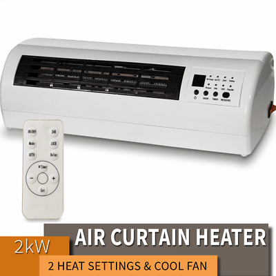 PREMiAIR 2kw Electric Over Door Warm Air Curtain Fan Wall Heater Remote Control • 39.99£