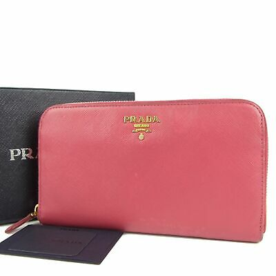 Sale! PRADA Logos Saffiano Leather Round Zipper Long Wallet Purse 10369bkac • 105.92£