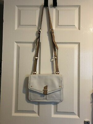 £15 • Buy M&S Autograph White Leather Crossbody Bag With Tan Adjustable Strap