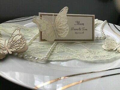 25 Personalised Wedding Name Place Cards With Ivory Lace Butterfly Handmade • 9.50£