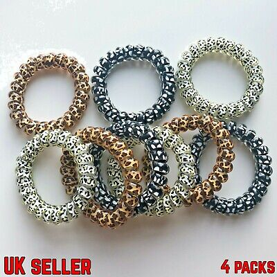 $ CDN4.30 • Buy Spiral Coil Wire Hair Bands/Bobbles- 4 Pack - 5cm - Leopard Print Colours Design
