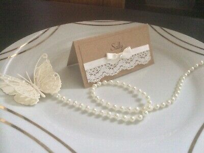 25 Personalised Rustic Wedding Name Place Cards Lace And Satin Ribbon • 8.50£