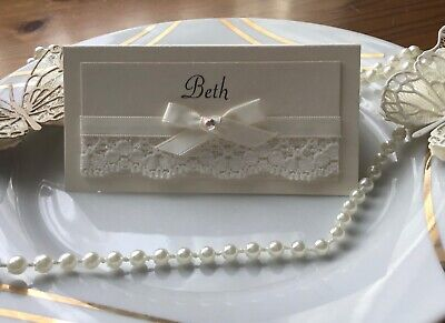 25 Personalised Wedding Name Place Cards With Lace And Ribbon Handmade • 8.50£