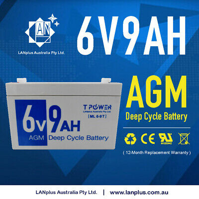 AU30.99 • Buy Brand New 6V 9AH 6volt 9.0ah AGM Lead Acid Battery Same Size As 6V 7Ah UPS APC