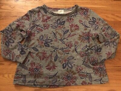 $ CDN30.49 • Buy Anthropologie T. La Womens Large Floral Gray Terry Cloth Boxy Sweatshirt