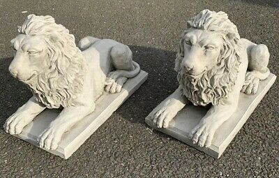 Stone Garden Pair Of Proud Lion On Base Statue Detailed Gift Ornament • 76.95£
