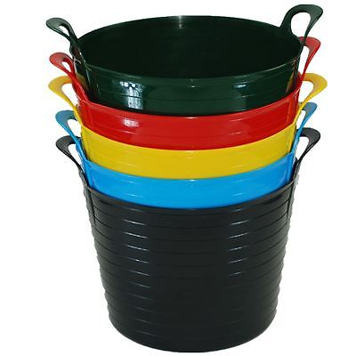 2 X 42L FLEXI BUCKET LOUNDRY Home Garden Flexible Storage Colour Bucket Basket • 10.95£