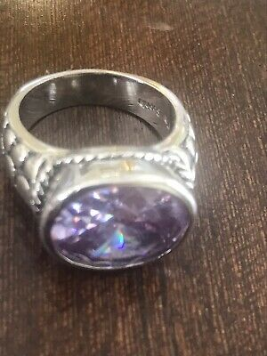 $ CDN21.46 • Buy Lia Sophia Amethyst Color Ring Size 7 Facetted Clear Accents Silver Tone