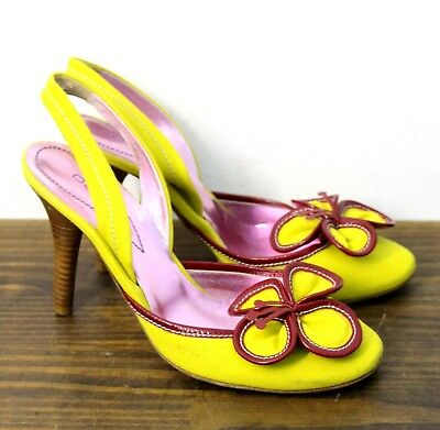 $74.99 • Buy Etro Italy Flower Yellow Fabric Genuine Leather Slingback Pumps Pin Up Shoes 7.5