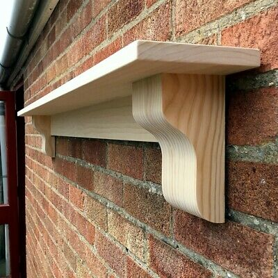 Solid Pine Mantel Shelf With Corbels, ELEGANT STRAIGHT TYPE Mantle • 115£