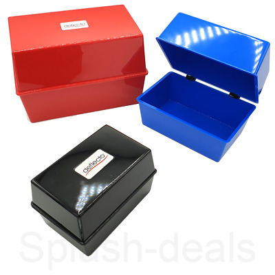 £7.09 • Buy Index Card Box Record Card Boxes Deflecto -  5X3 6X4 8X5 Sizes - Blue Red Black