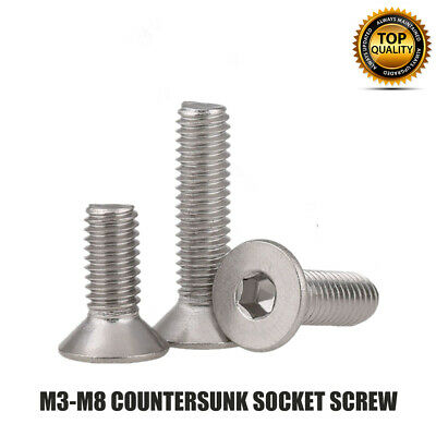 AU9.99 • Buy M4 M5 M6 M8 Stainless Countersunk Socket Screw Allen Key Bolts Screws Din7991