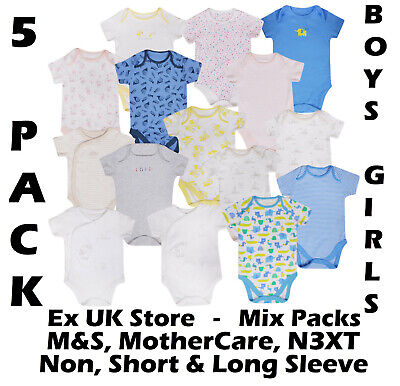 Baby Boys Girls 5 Pack Bodysuits Ex Uk Store Cotton Vests Tb-36m Mix Stores New • 7.95£