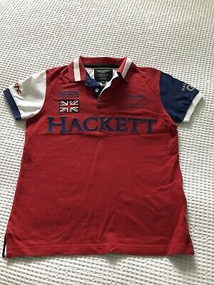 Boys Hackett Aston Martin Polo Shirt  Red, White And Blue Age 11-12 Years • 5£