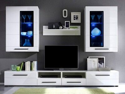 Living Room Furniture Set Glass Cabinet Cupboard Tv Unit Display Stand White Led • 427£