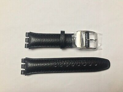 £6.99 • Buy Replacement 19mm Leather Watch Strap In Black For Swatch Metal Buckle