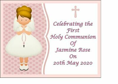 Girls Personalised First Holy Communion Edible Icing Cake Topper Decoration  A4 • 6.49£
