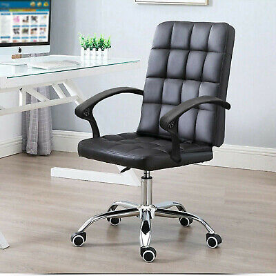 Comfy Office Desk Computer Chair Padded Seat Swivel Lift Chair PU Leather Chair • 44.49£