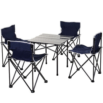 Outsunny 5-PC Outdoor Foldable Portable Camping Table Chairs Set W/Carry Bag • 69.99£