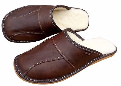 Men's Sheepskin Slippers Brown Wool Leather House Shoes Size 6.5-11 Scuffs Mules • 13.49£