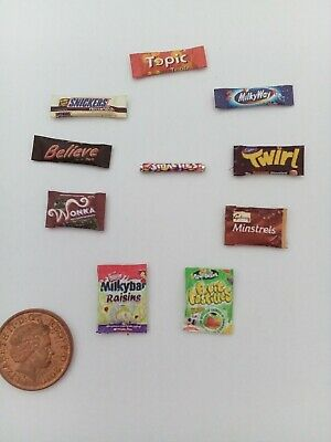 1/12 Scale Assorted Sweet Packets Set Of 10 For Dollhouse Miniatures ***** • 1.50£