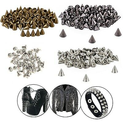 100pcs Punk Studs Cone Spikes Spots Rivets For Leather Jacket Belt Crafts DIY UK • 3.49£