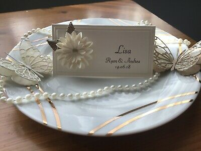 25 Personalised Wedding Name Place Cards With Ivory Flower And Lace Leaf • 9.50£