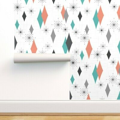 Peel-and-Stick Removable Wallpaper 1950S Mid Century Modern Mod Atomic Retro 50S • 78.93£