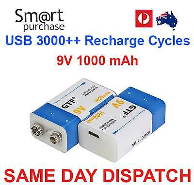 AU26.59 • Buy 9V Rechargeable Battery Block Cell 1000mAh Li-ion USB Recharge 6F22 PP3 R22 W