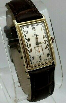 1920's Omega Hand Wind 14K SOLID YELLOW GOLD ORIGINAL SIGNED CASE DRESS RUNS • 108.48£