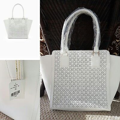 $ CDN124.99 • Buy NWT Danier Genuine Leather Laser Cut Smooth Handbag Bag Purse Tote White