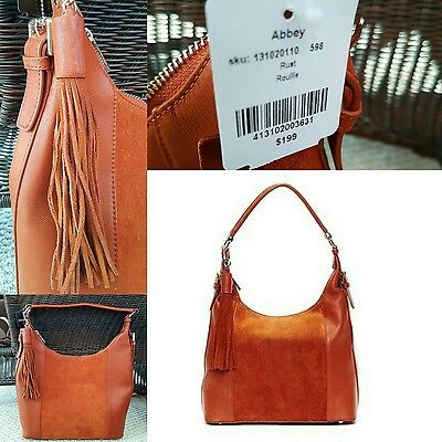 $ CDN119.99 • Buy NWT Danier Geniune Leather & Suede Hobo Bag Purse Handbag Rust Orange Brown Fall