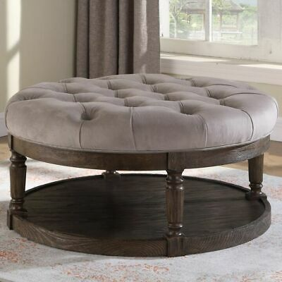 $513.95 • Buy Tufted Ottoman Coffee Table Large Storage Cocktail Bench Rustic Wood Round Suede