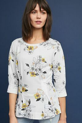 $ CDN30.39 • Buy Anthropologie XS Shirt Top T. La Rooney Floral Pleated White 3/4 Sleeve Womens