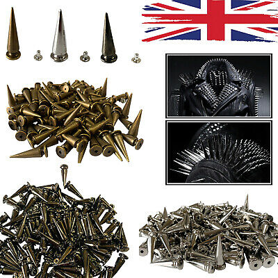 Spike Long Cone Punk Studs Rivets 29x10mm For Leather Crafts Clothes Shoes X 100 • 4.89£