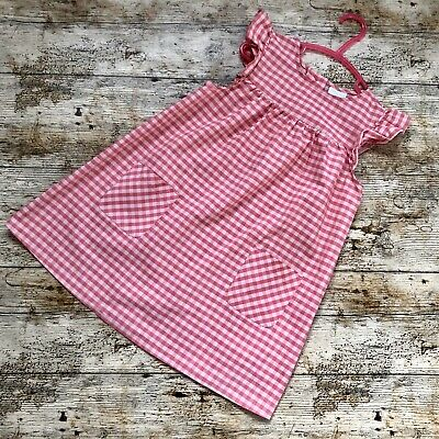 Girls Age 4-5 Years Lovely Summer Cool F&F Pink & Coral Checkered Dress • 2.50£