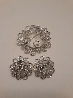$5.99 • Buy Vintage 1971 Sarah Coventry  Silvery Mist  Pin Brooch & Earrings Jewelry Set