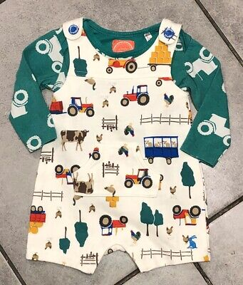 Joules Baby Boy FARM Dungarees NEW 0-3 Months (see Description) • 6.49£