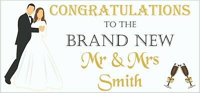 2 PERSONALISED Congratulations Wedding Banners Party Decorations Mr & Mrs 001 • 5.95£