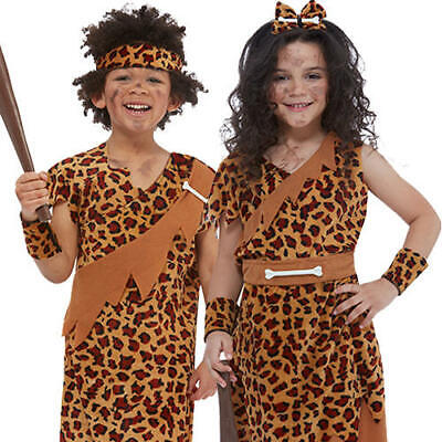 Caveman Kids Fancy Dress Stone Age Cave Boy Girl World Book Day Childs Costumes  • 9.99£