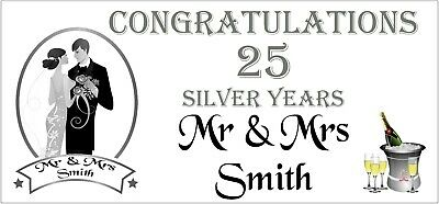 2 PERSONALISED 25th Silver Wedding Anniversary Banners Party Decorations 001 • 5.95£