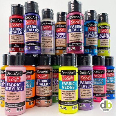 DecoArt SoSoft Fabric Acrylic Paint Neon Metallic Glitter 59ml ( 2oz ) Bottles • 2.99£