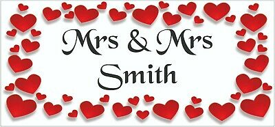 2 PERSONALISED Mrs & Mrs Wedding Anniversary Banners Party Decoration Red Hearts • 5.95£