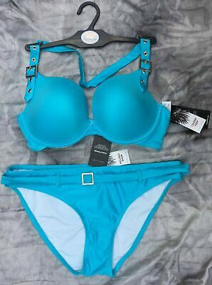 £4.98 • Buy Ex New Look Turquoise Halter Neck Padded Plunge Wired Buckle Bikini Separates