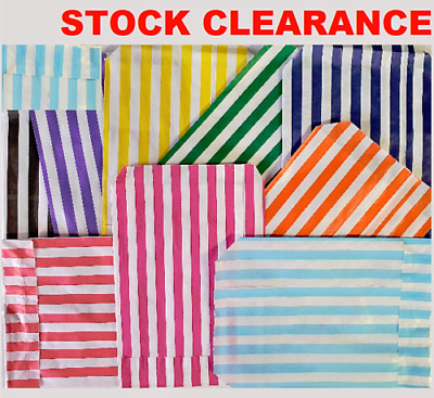 £1.90 • Buy CANDY STRIPE SWEET BAGS 150 100 50 Paper Confectionery Bag Party Favor Stripey