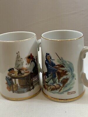 $ CDN31.23 • Buy NORMAN ROCKWELL MUSEUM 1985 Mugs-- For A Good Boy & Braving The Storm. Used