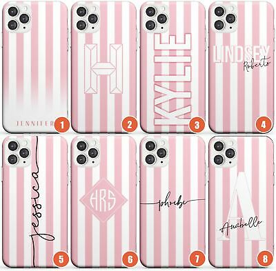 Personalised Pink Stripe Slim Phone Case For IPhone | Customised Name Striped De • 8.95£